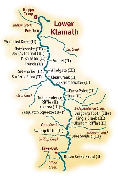 Mile-by-Mile Whitewater Rafting Guide for the Lower Klamath on klamath mountains map, lake of the woods map, klamath marsh map, trinity lake map, klamath national forest map, highland map, morgan hill map, klamath basin map, lower klamath national wildlife refuge map, southern oregon northern california map, klamath lake map, prairie creek redwoods state park map, trinity county map, roosevelt national forest trail map, oregon rivers map, klamath county map, six rivers national forest map, humboldt county map, redwood national and state parks map,