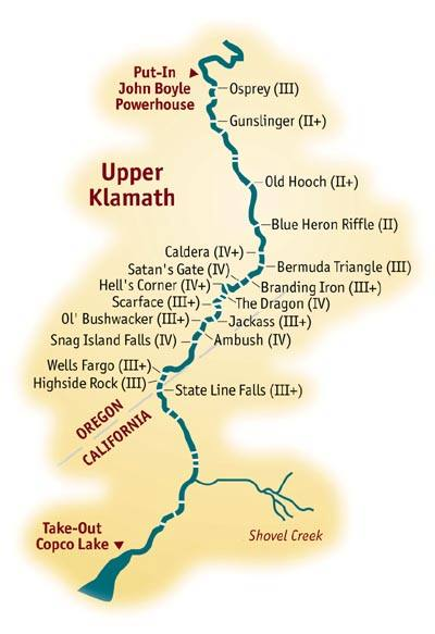 White Water Rafting California Map.Mile By Mile Whitewater Rafting Guide For The Upper Klamath